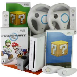 Nintendo Wii Mario Kart Console Bundle - Racing Wheel Controllers Lot of Games