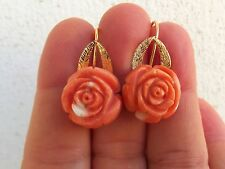 VINTAGE 18mm UNDYED CARVED SALMON CORAL 22K SOLID GOLD HANDMADE EARRINGS  no 18k