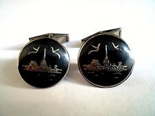 A BEAUTIFUL PAIR OF SIAM STERLING SILVER 1960 GENTS CUFFLINKS.