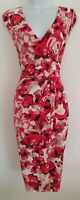 Womens Phase Eight Pink Floral Crossover Draped Gathered Sleeveless Dress 12.