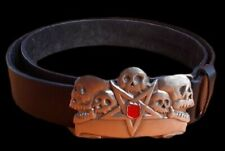 Gothic Star Skull Heavy Big Leather In Belt Buckle Size 40