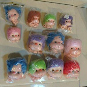 "Lot of 12 Vintage Fiber Craft Crafts Mitzy Doll Heads Arm Hands 3 1/2-4 1/2"""