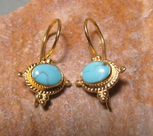 Sterling silver with 18k gold plate cab TIBET TURQUOISE gemstone earrings.