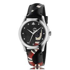 New Gucci Le Marché Des Merveilles Gray Leather Strap Unisex Watch YA1264007A