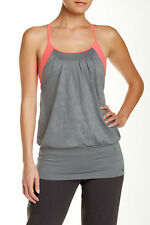 New Womens North Face Flow Tank Size L Senona Sage Grey/Fiery Coral Heather $58
