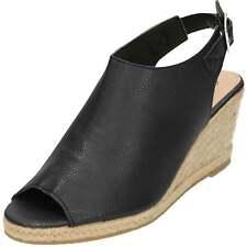 Wedge Woven Heel Peep Toe Slingbacks Black Espadrilles Mules Shoes Faux Leather