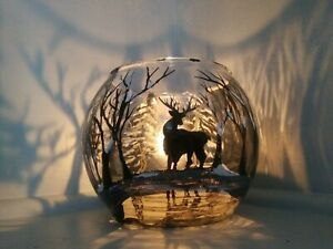 One Candle Holder Glass Vase Hand Painted deer in forest Gift Light Tea Light.