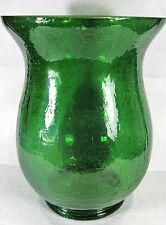 Pillar Candle Holder Flared Green Crackle Glass Small Pillar size Home Decor