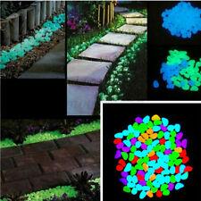100Pcs Glow Pebble Stones Aquarium Garden Walkway Rock Luminous In The ~ �