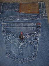 PLASTIC BY GLY Flare Flap Pockets Stretch Denim Jeans Womens Size 28 x 33 USA