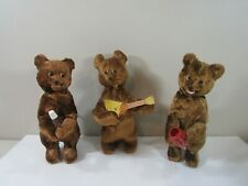 (3) Vintage Wind Up Russian Bear Toys