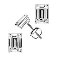 Emerald Cut Solitaire Stud Earrings 1.0ct 14k White Gold Screw Back Jewelry Gift