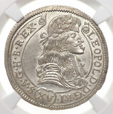 HUNGARY. Leopold I, Silver 15 Kreuzer, 1681-KB, NGC Unc Details, Sharply struck!
