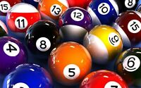 Pool Balls - Pub Game Sport Colourful Wall Art Large Poster / Canvas Pictures