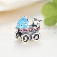 Sterling Silver Blue Enamel Baby Carriage Charm Bead fit European Bracelet