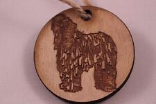 Christmas Tree Decoration Bauble - Vintage disk with Dog engraved.Ready to hang