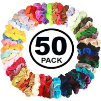 50 Pcs Hair  Scrunchies Velvet Elastics Hair Ties Scrunchy Bands Ties Ropes Gift