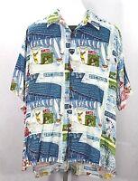 AVI Kahala Hawaiian Shirt San Diego Tourist Spots SS XL 100% Rayon USA