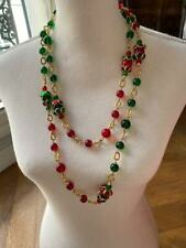 RARE COUTURE 90s VINTAGE CHANEL RED GREEN GRIPOIX GLASS NECKLACE
