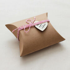 KRAFT PILLOW BOXES Small Favours Wedding Baby Shower Rustic Packaging 20 pcs