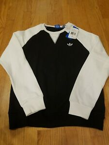 NWT!! adidas trefoil Girls J Crew Fleece Size Large Sweatshirt Black/White