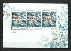 Suriname 2011 Sc#1425(Pair)  Flowers-Azaleas  MNH Miniature Sheet(3 Pairs)