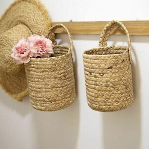 Woven Hanging Woven Rattan Basket Wicker Planters Garden Decoration Wall-mounted