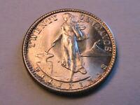 1944-D Philippines 20 Centavo Ch BU+ Lustrous Original 20 Cent Asian Silver Coin