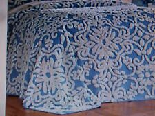 New QUEEN Size Bedspread ** Chenille Blue & white Scroll Floral #5193