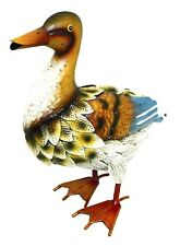 Duck Metal Garden Ornament Hand Painted Outdoor Animal Patio Statue 28cm Tall
