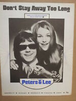 song sheet DON T STAY AWAY TO LONG Perers + Lee 1974