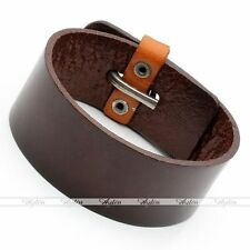 "Belt Bracelet Cuff Wristband Bangle 7.5-8"" Punk Mens Brown Wide Genuine Leather"