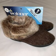 LADIES 9.5-10 ISOTONER WOODLAND~FAUX-FUR BOOT SLIPPERS~BOOTIES~DARK RUSSELL~NWT