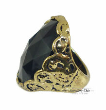 Vintage Gold Black Gem Cameo Solitaire Costume Jewellery Chunky Ring