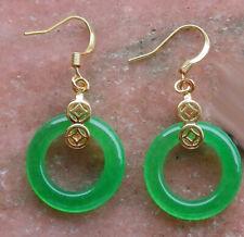 Green Jade Circle Donut Imitation Diamond Yellow Gold Plated Coin Hook Earrings
