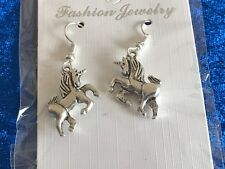 UNICORN EARRINGS Tibetan Silver Charms hanging from Silver Plated hooks