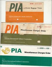 PAKISTAN PIA AIRLINES PASSENGER TICKET AND BAGGAGE CHECK LOT OF 3 DIFF LOT E