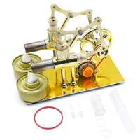 Double Cylinders Hot Air Stirling Engine Model Generator Motor Steam Power Toy