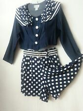 VTG 80s 2 Pc Mix-Match Top/Jacket MiniCulottes Blue White Polka Dots Disco S-SM