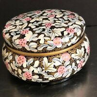 Wood Trinket Jewelry Box Hand Painted Black Pink Gray Gold Artist Signed Storage