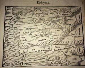 CARTE DE LA TURQUIE ( BITHYNIE) . GRAVURE XVI ème.