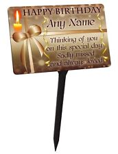 Personalised Memorial Plaque & Stake. Happy Birthday for garden grave etc