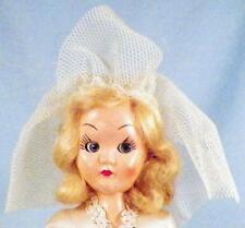 Vintage Hard Plastic Bride Doll Wedding Gown Blond Mohiar Wig Blue Eyes 7.5 inch