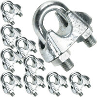 10 x 5mm Galvanised Steel Grip Clamp/Clips – Wire Rope Lashing Cable U Bolt Nut