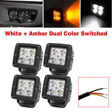 4pcs 3inch Amber + White Dual Colors LED Work Light Spot Square Cube Pods Trucks