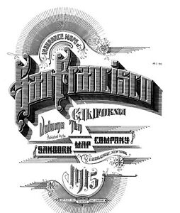 San Francisco, California~Sanborn Map© sheets~ on CD~10 Vols~1913, 1914,1915~B/W