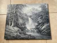 Vintage Original OIL PAINTING Canvas Black White Greyscale by DANFORD 24x20 RARE