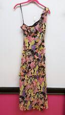 NICOLE MILLER 2 Black Pink Mustard Floral One Shoulder Tiered Maxi Slip Dress