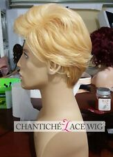 New Short Blonde Wigs For Men Synthetic Hair Machine Made Full Wig Heat Friendly