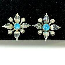 Vintage BN Screwback Earrings Bigbee & Niles Silver Tone Blue Rhinestone Flower